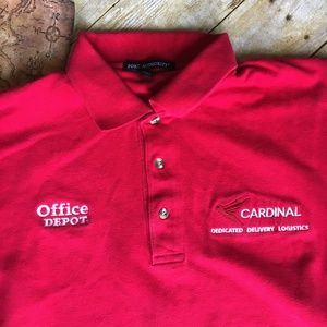ade8922b Port Authority Shirts - Office Depot Cardinal Stitched Logo 3 Button Polo